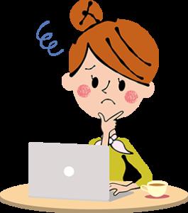 パソコンで悩んでいる女性のイラスト