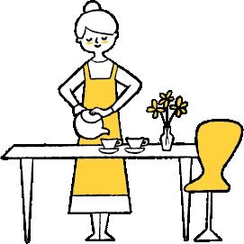 家事をしている女性のイラスト